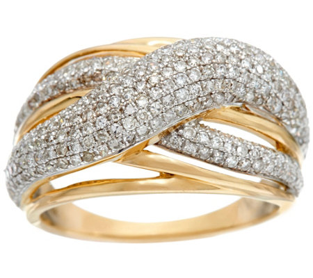 """As Is"" Domed Pave' Crossover Ring, 14K Gold, 1.00 cttw by Affinity"