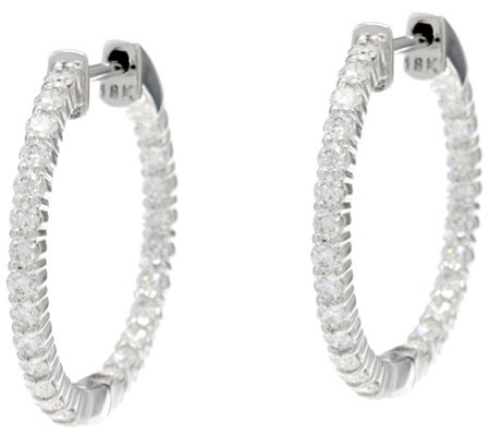"Round Diamond 3/4"" Hoop Earrings, 18K, 1.00 cttw, by Affinity"