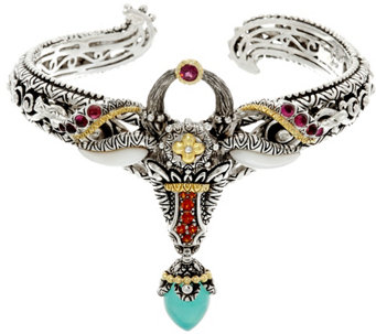 Barbara Bixby Sterling & 18K Multi-Gemstone Ram Cuff Bracelet - J331638