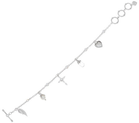 Hallmark Sterling Cubic Zirconia Multi-Chain Toggle Bracelet