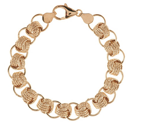 """As Is"" Vicenza Gold 7-1/4"" Textured Status Link Bracelet, 14K Gold, 7.1g"