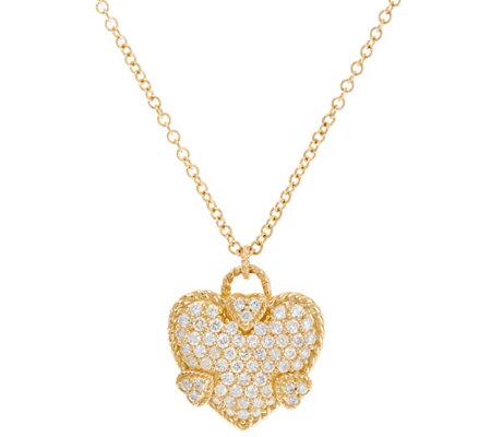 Judith Ripka 14K Gold Diamond Heart Necklace