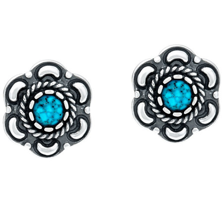 American West Sterling Silver Spiderweb Turquoise Earrings