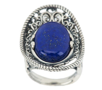 """As Is"" Carolyn Pollack Lapis Sterling Oval Ring - J335138"