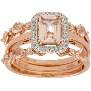 Set of 3 Morganite Stack Rings 14K Gold