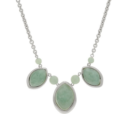 "Marquise & Bead Jade Sterling 18"" Necklace,"