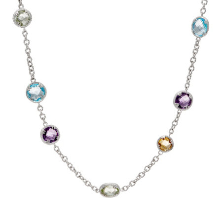 "DeLatori Sterling Silver 16.75 cttw Multi-Gemstone 18"" Necklace"