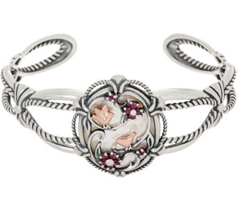 Carolyn Pollack Sterling Silver Mother Of Pearl Garnet Bird Cuff J352238