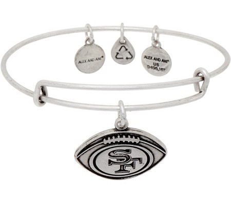 Alex and Ani Silvertone NFL Football Charm Bangle