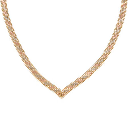 "Imperial Gold 20"" Tri-Color V Necklace, 14K, 36.6g"