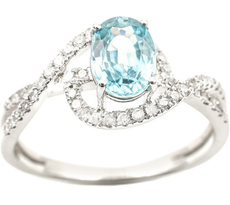 1.30 ct Blue Zircon & 1/5 cttw Diamond Ring, 14K White Gold