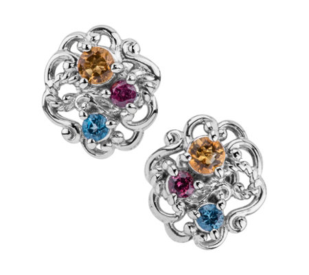 Carolyn Pollack Sterling Multi-Gemstone ButtonEarrings