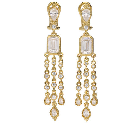 Judith Ripka 14K Clad Diamonique Dangle Earrings