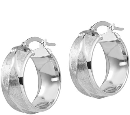 Italian Gold Textured Petite Round Hoop Earrings, 14K