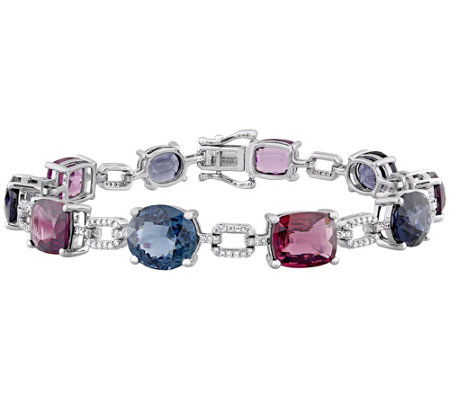 14K Gold 26.00 cttw Multi-Color Spinel & Diamond Bracelet