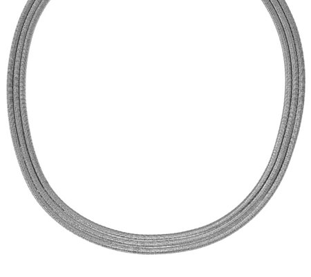 Italian Silver 3-Row Bold Snake Chain Necklace,26.0g