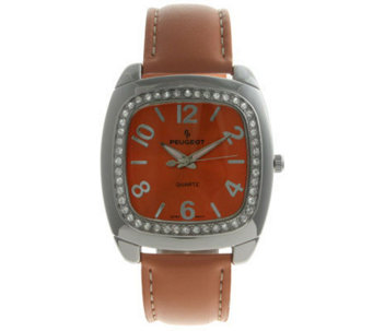 Peugeot Ladies' Crystal Bezel Orange StrapWatch - J105139