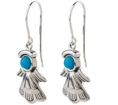 Southwestern Sterling Turquoise Angel Dangle Earrings