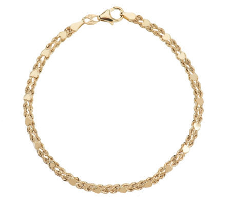 "EternaGold 8"" Heart Rope Station Bracelet 14K Gold, 2.3g"