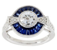 TOVA Diamonique Simulated Sapphire Ring, Sterling