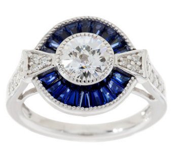 TOVA Diamonique Simulated Blue Sapphire Ring, Sterling - J281139