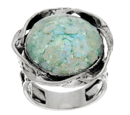 Sterling Silver Roman Glass Textured Round Ring by Or Paz