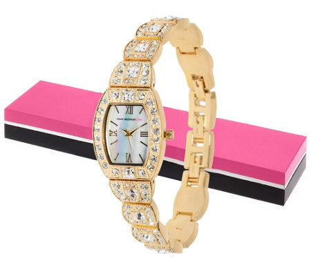 Isaac Mizrahi Live! Crystal Bracelet Watch with Gift Box