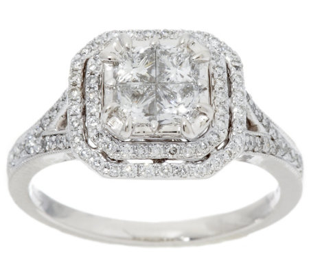 Michael Beaudry 1.20 cttw Diamond Square Double Halo Ring, 14K Gold