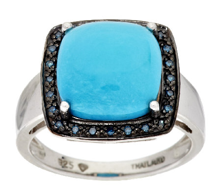 Sleeping Beauty Turquoise & Blue Diamond Accent Sterling Ring