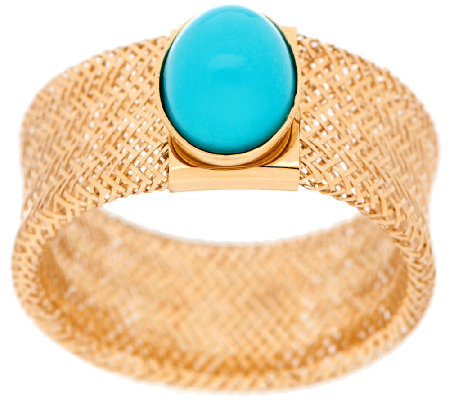 Vicenza Gold Oval Turquoise Cabochon Mesh Stretch Ring 14K Gold