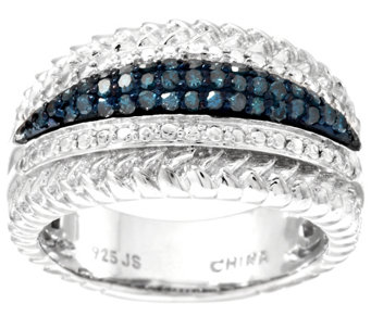 Blue Textured Border Diamond Ring, Sterling 3/10 ct tw by Affinity - J296639