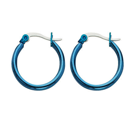 "Stainless Steel 3/4"" Blue-plated Hoop Earrings"