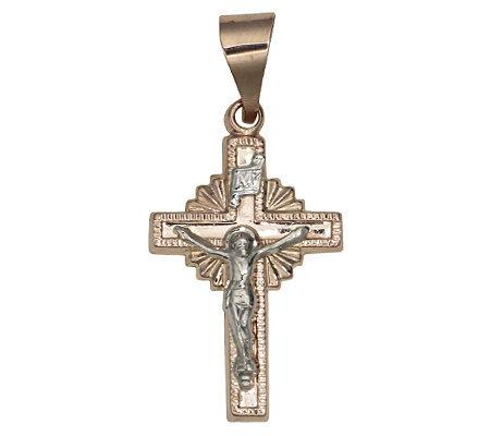 Sunburst cross pendant with crucifix 14k rosegold page 1 qvc sunburst cross pendant with crucifix 14k rosegold audiocablefo