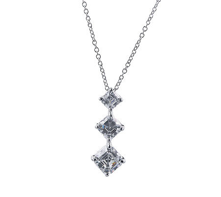 Diamonique 3 Stone Journey Pendant w/ Chain, Platinum Clad