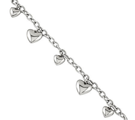 "Steel by Design 7-3/4"" Polished Hearts Bracelet"