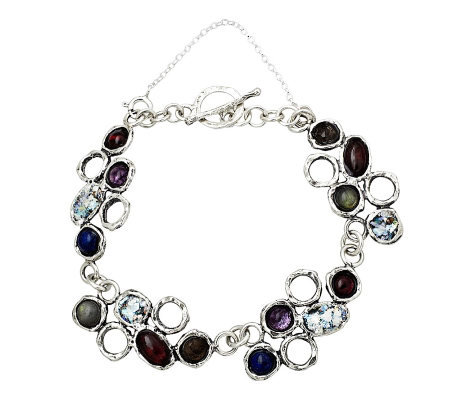 Or Paz Sterling Roman Glass & Gemstone Bracelet