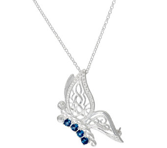 JMH Jewellery Sterling Silver and Gemstone Butterfly Pendant - J318739