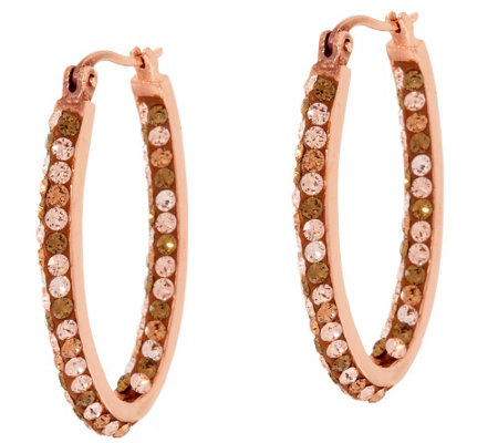 Bronzo Italia Shades of Crystal Oval Hoop Earrings