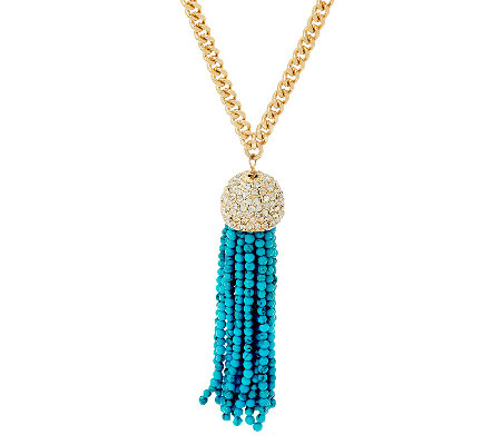 BaubleBar Beaded Tassel Pendant Necklace