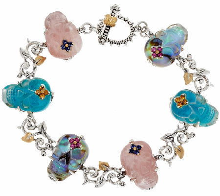"Barbara Bixby Sterling & 18K Gemstone Skull 8"" Bracelet"