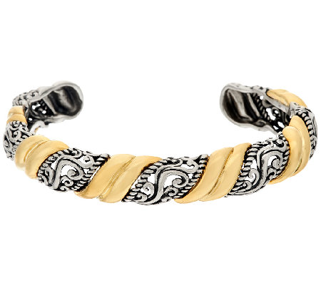 Carolyn Pollack Sterling Brass Signature Scroll Design Cuff