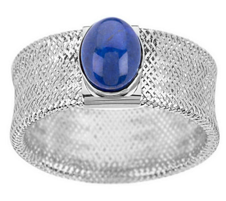 """As Is"" Oval Lapis Cabochon Mesh Stretch Ring 14K Gold"