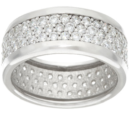 Diamonique Pave' Band Ring Sterling or 14K Clad