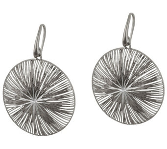 """As Is"" Vicenza Silver Sterling Textured and Diamond Cut Dangle Earrings - J327339"
