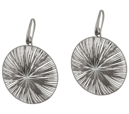 """As Is"" Vicenza Silver Sterling Textured and Diamond Cut Dangle Earrings"