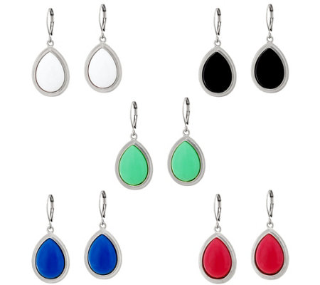 Joan Rivers Set of 5 Bright Teardrop Cabochon Earrings