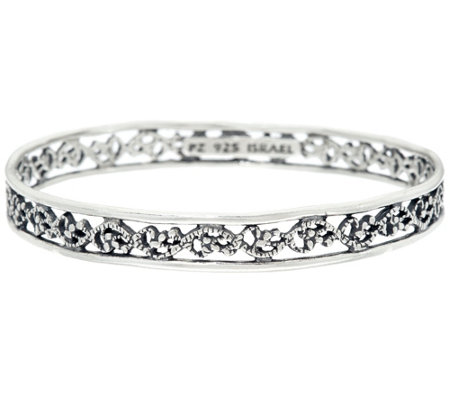 Sterling Silver Lace Design Bangle by Or Paz, 14.50g