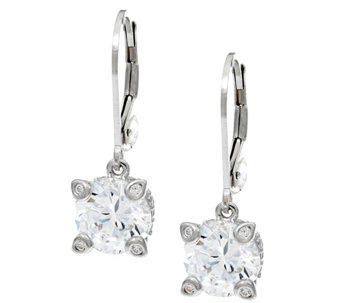 Diamonique 4.30 cttw Lever Back Earrings, Platinum Clad - J328639