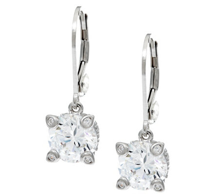 Diamonique 4.30 cttw Lever Back Earrings, Platinum Clad