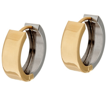"""As Is""14K Gold Polished Reversible Hinged Hoop Earrings"